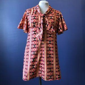 70's Vintage Handmade Retro OOAK Mini Dress Large